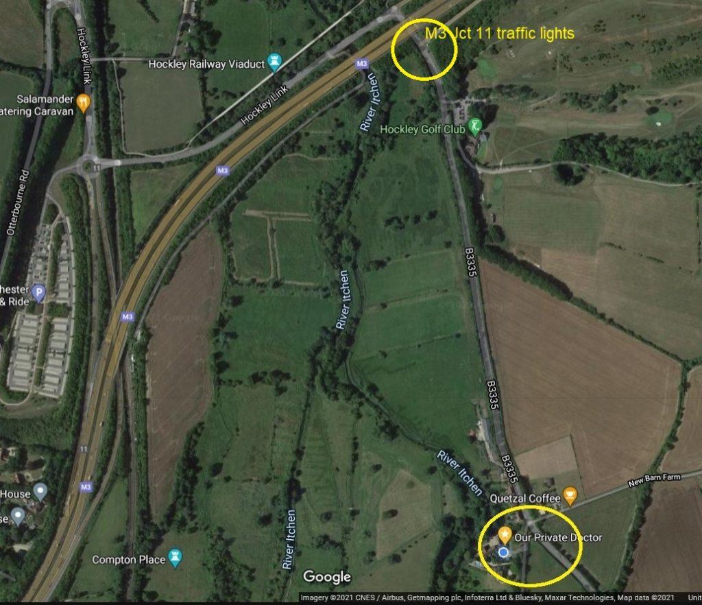 Satellite view M3 Jct 11, B3335, to Church Lane
